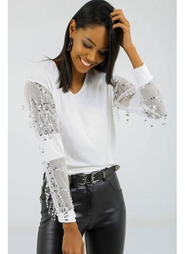 Emjey Kolları Tül Pul İşlemeli Dirsek Detaylı Bluz Beyaz